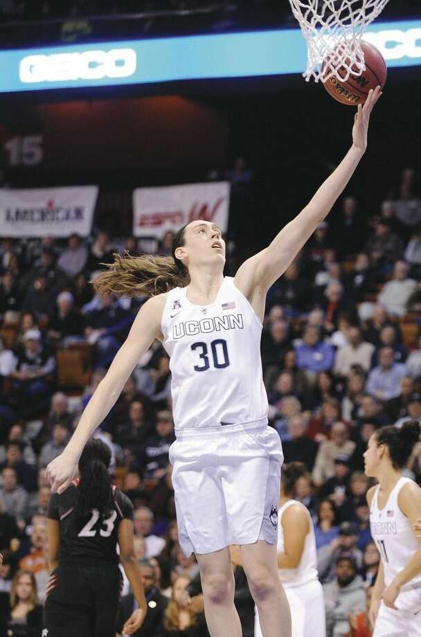 AP photoUConn's Breanna Stewart scores during the first half against Cincinnati in the quarterfinals of the AAC tournament on Saturday.