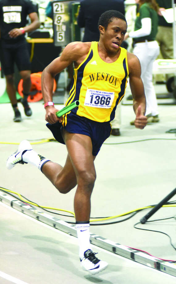 Weston's Simeon Okoro in action from the New England Indoor Track Championship meet. (Hour photo/John Nash)