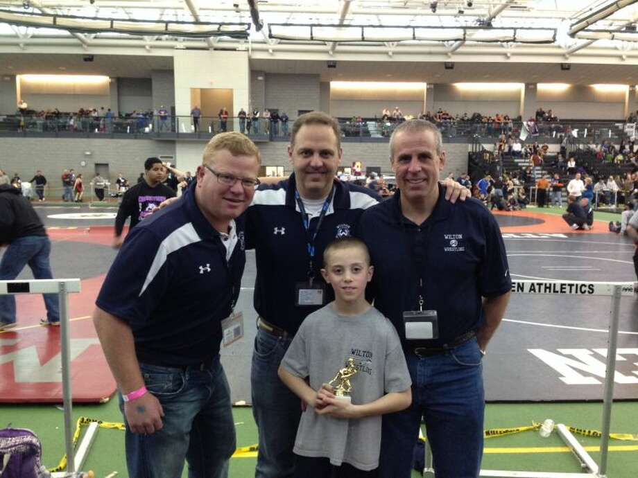 Max Mannino with coaches (l-r) Greg Morris, Ted Young, and Brian McGovern