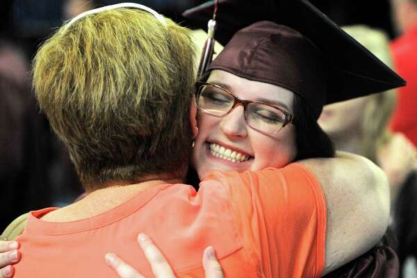 Shannon Flanagan get a big hug from her aunt, Kathy Sturges, before the 2016 Bethel High School Commencement Ceremony, held on Friday, June 10, 2016, at the O'Neil Center at Western Connecticut State University, Danbury, Conn.
