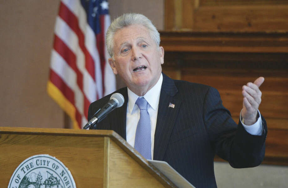 Hour photo / Alex von KleydorffNorwalk Mayor Harry Rilling talks about his first 100 days in office during his State of the City address at a press conference at City Hall on Monday.