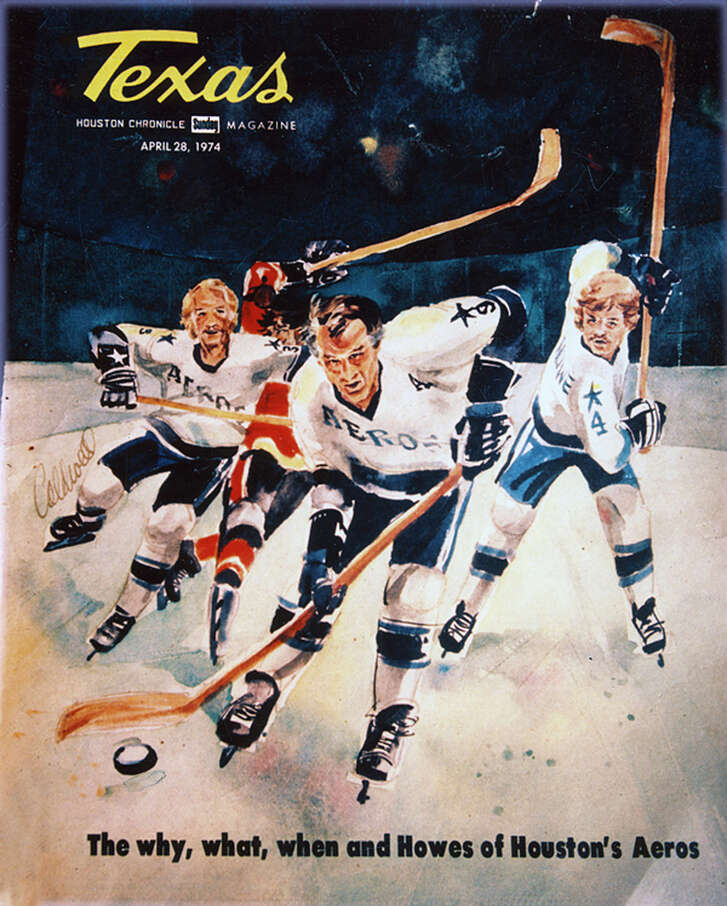 In this artwork from a Texas magazine cover that depicts the Houston Aeros, Gordie Howe leads the rush with his two sons trailing the play.