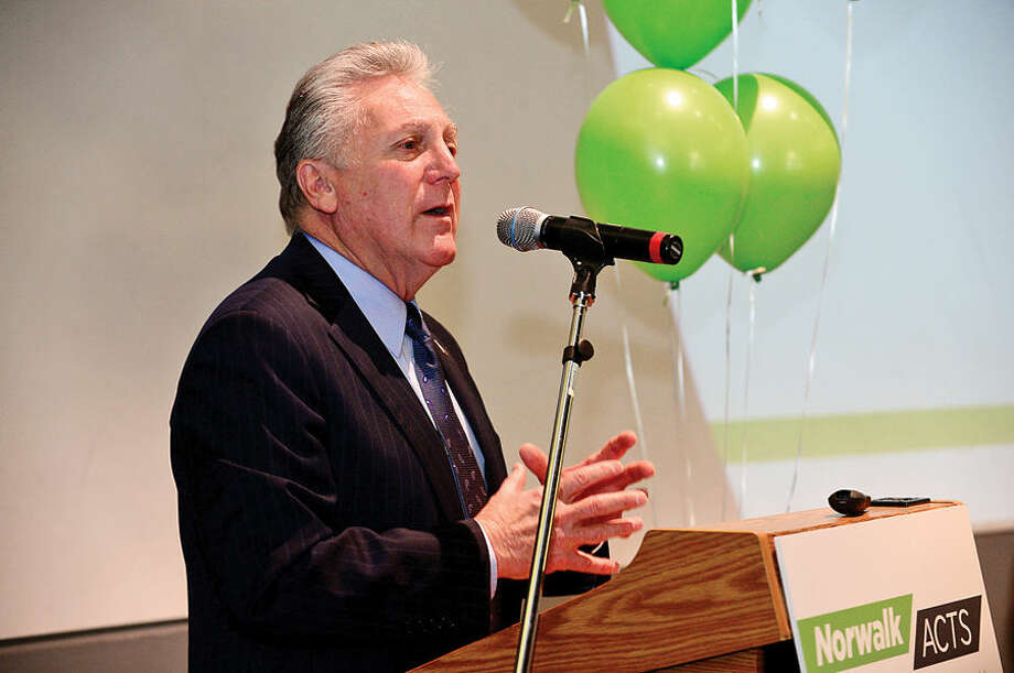 Hour photo / Erik Trautmann Mayor Harry Rilling gives his remarks as Norwalk ACTS holds press conference at Stepping Stones Museum for Children Tuesday to announce the release of their Cradle-to-Career Baseline Report. The report which represents over 100 individuals and organizations speaks to the current state of Norwalk's children.
