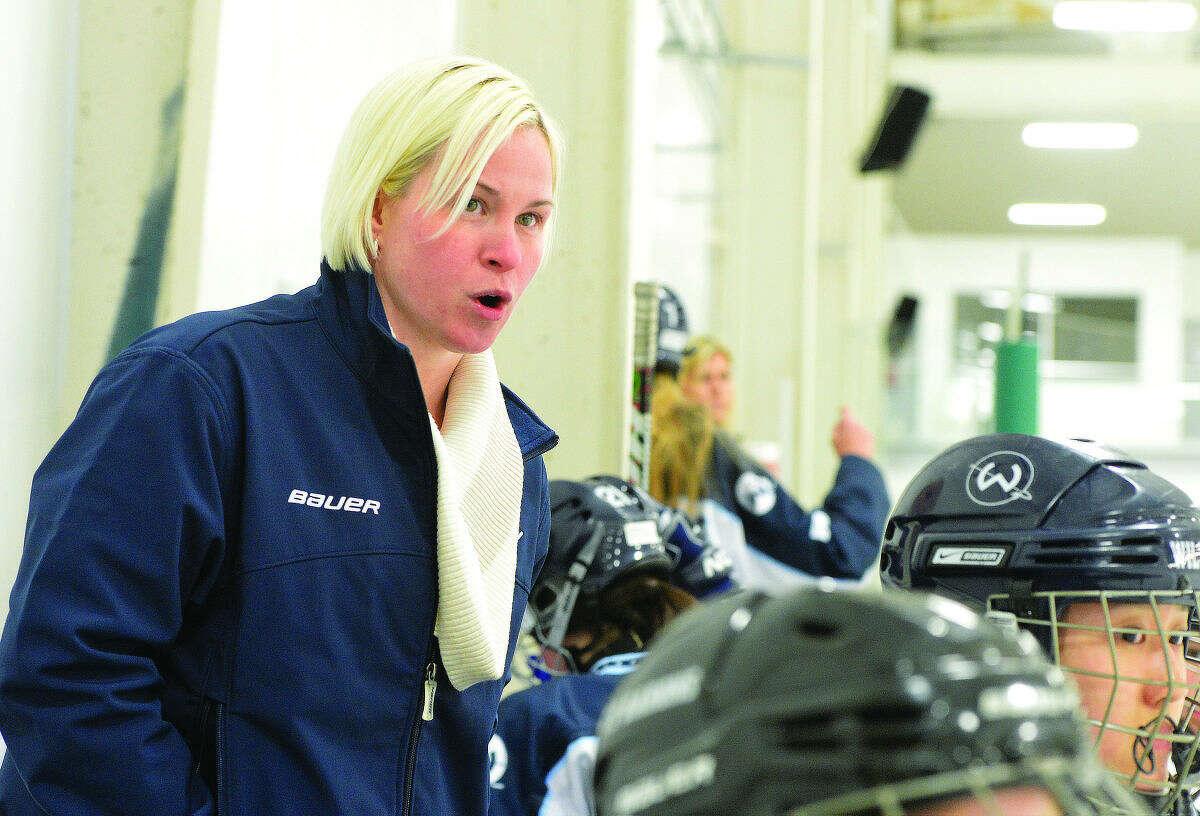 Wilton girls hockey coach Melissa Hawkins is stepping down after two seasons. (Hour Photo/Alex von Kleydorff)