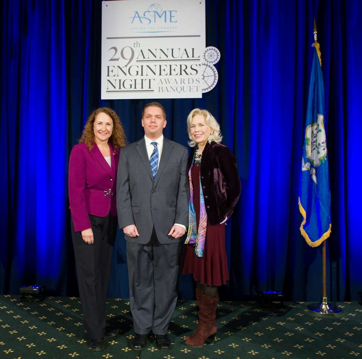 (from left to right) Elizabeth Esty,U.S.Representativefor the 5th District ofConnecticut, Aaron Danenberg,Engineers' Night Chairman and Lonnie Reed, State Representative, honored Connecticut's Distinguished Engineers at the 29thASMEAnnualEngineers' Night Awards Banquet at the Society Room in Hartford on February 19th. Congresswoman Esty served as the keynote speaker and Rep. Reed closed out the ceremony.