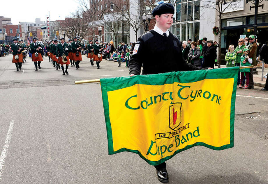 Hour photo / Erik Trautmann Local music and dance organizations like the Counti Tyrone Pipe Band participate in The Stamford St. Patrick's Day Parade as it follows last year's parade route proceeding North on Atlantic Street and continuing onto Bedford Street Saturday.