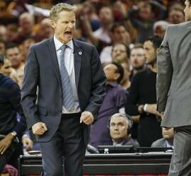 Golden State Warriors' Coach Steve Kerr reacts in the second quarter during Game 4 of the NBA Finals at The Quicken Loans Arena on Friday, June 10, 2016 in Cleveland, Ohio.