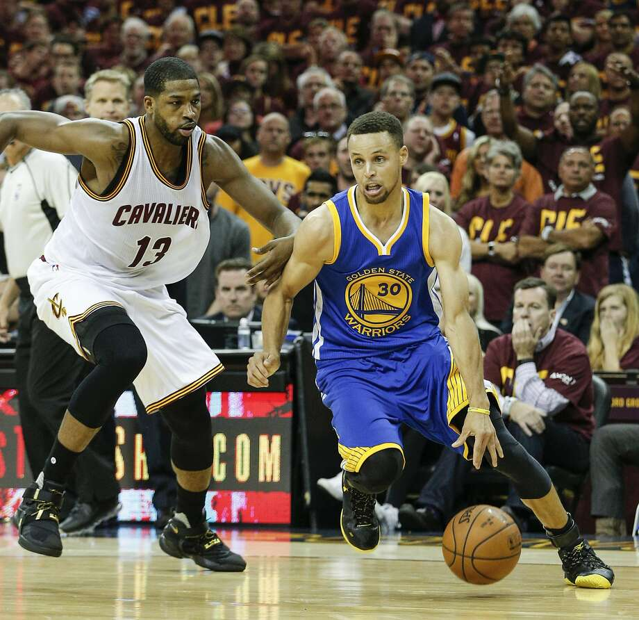 Golden State Warriors' Stephen Curry drives past Cleveland Cavaliers' Tristan Thompson in the second quarter during Game 4 of the NBA Finals at The Quicken Loans Arena on Friday, June 10, 2016 in Cleveland, Ohio. Photo: Michael Macor, The Chronicle