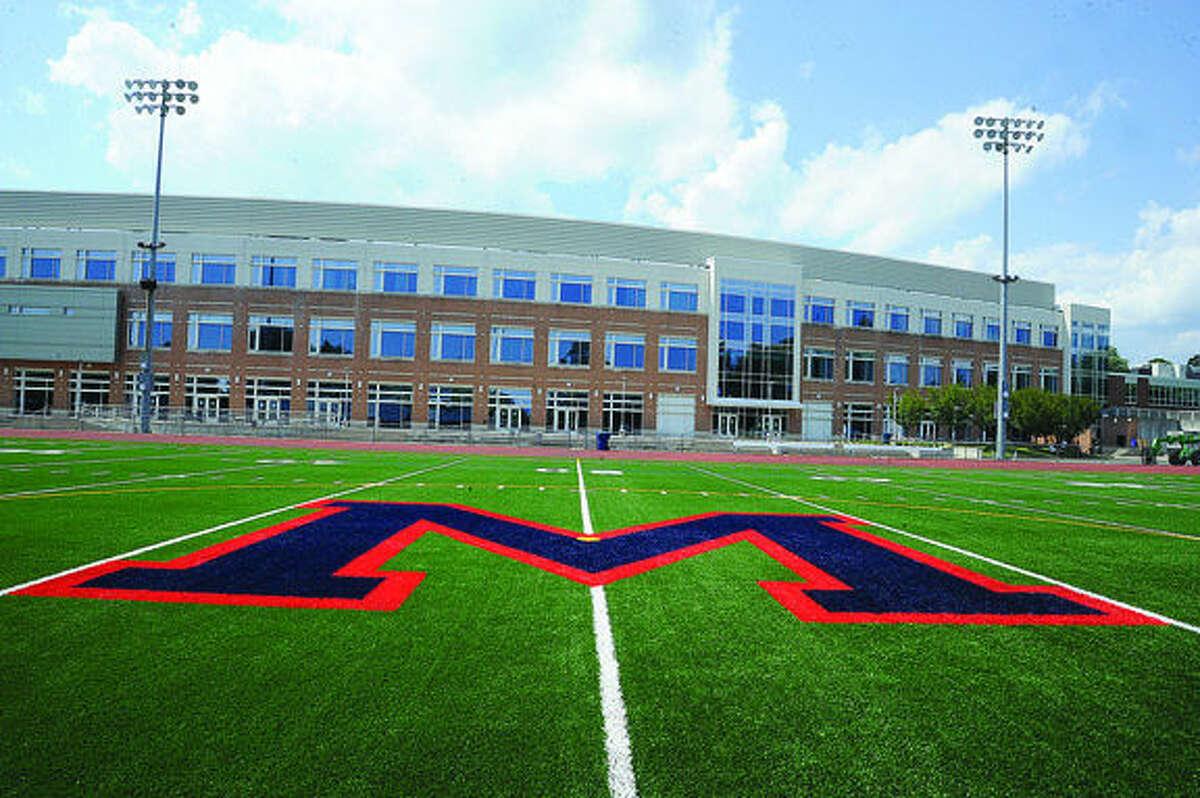 New turf on Jack Casagrande field at brien McMahon High School. Hour photo /Matthew Vinci
