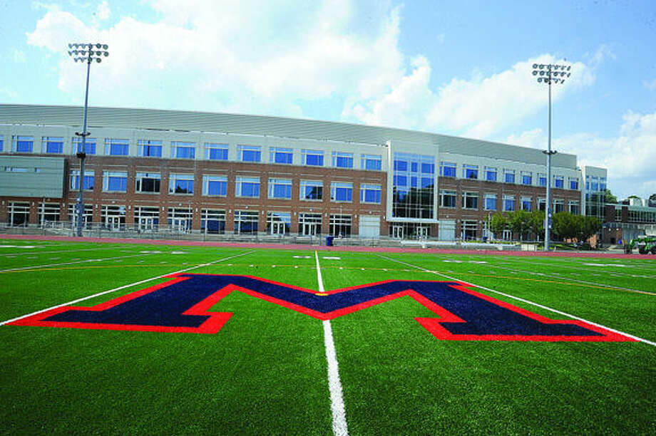 New turf on Jack Casagrande field at brien McMahon High School. Hour photo /Matthew Vinci