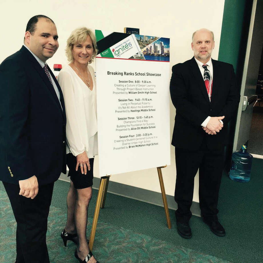 Contributed photoBrien McMahon High School was of one of 20 schools selected to present at the Breaking Ranks 2015 School Showcase in San Diego, Calif. The event was part of the National Association of Secondary School Principals 2015 annual conference. From left, BMHS Social Studies Teacher Rob Ayala, BMHS Principal Suzanne Koroshetz and BMHS Science Department Chair Tom Seuch.