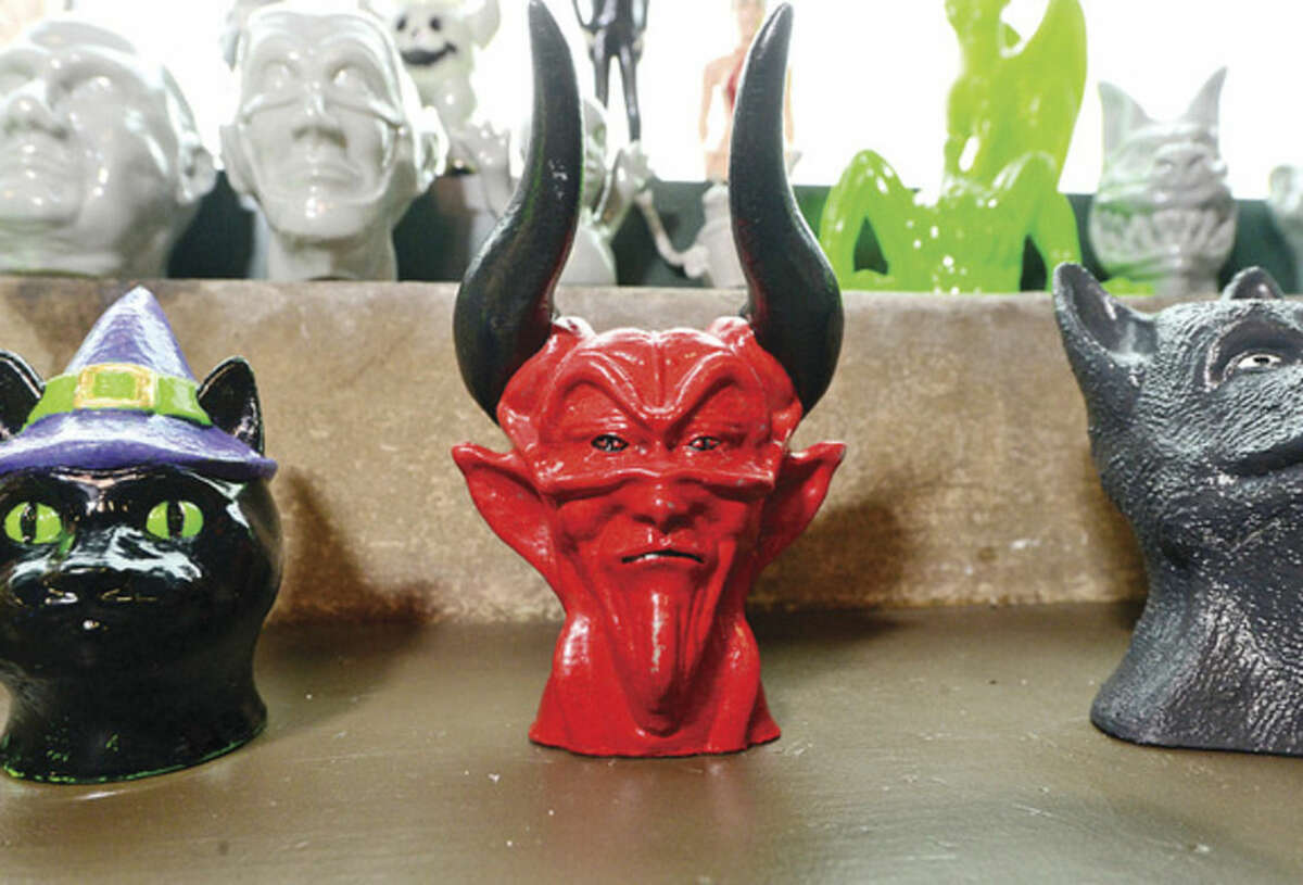 Hour photo / Erik Trautmann Some of the 3D printed items at the Fairfield County Makers' Guild open house Saturday.