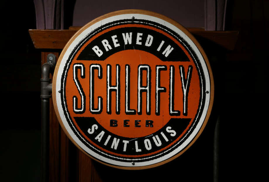 The logo seen on many bottles off beer produced by the brewery co-founded by Tom Schlafly is seen inside Schlafly Bottleworks on Wednesday, March 12, 2014, in Maplewood, Mo. Schlafly has been in a trademark dispute with his aunt, conservative activist Phyllis Schlafly, over whether Schlafly is primarily a last name or a commercial brand that deserves legal protection. (AP Photo/Jeff Roberson)