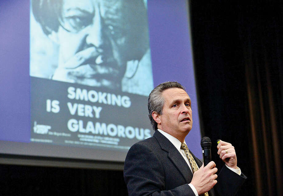 Hour photo / Erik Trautmann The School Based Health Center (SBHC) at Dolan Middle School helps teach students about the dangers of tobacco with a special assembly to commemorate National Kick Butts Day featuring Stamford Hospital Pulmonologist Paul Sachs, M.D.