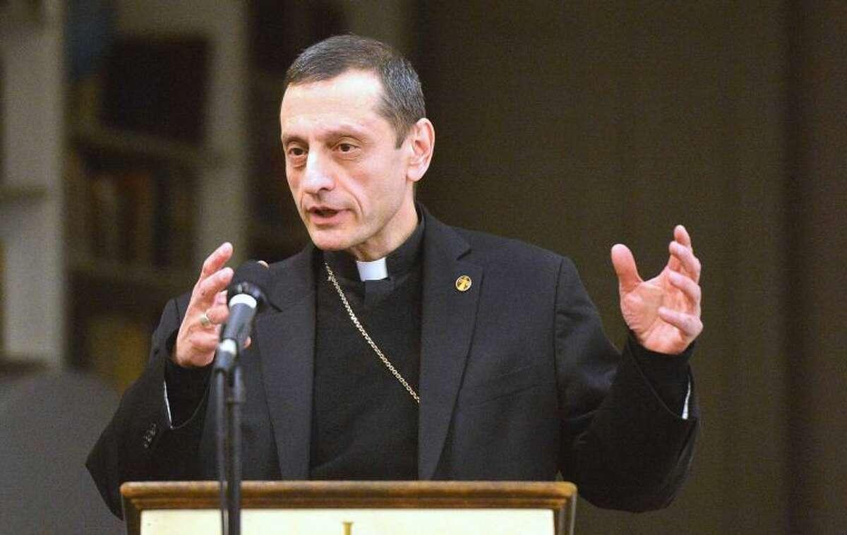 Hour Photo/Alex von Kleydorff Bishop Frank Caggiano speaks during 'An Evening of Conversation' at The First Congregational Church in Norwalk