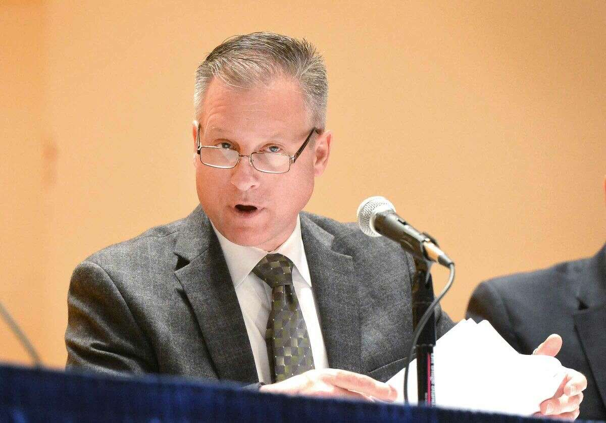 Hour Photo/Alex von Kleydorff Fianance Director Thomas S. Hamilton speaks during the Board of Estimate and Taxation public hearing on the tentative operating budget for 2015-16