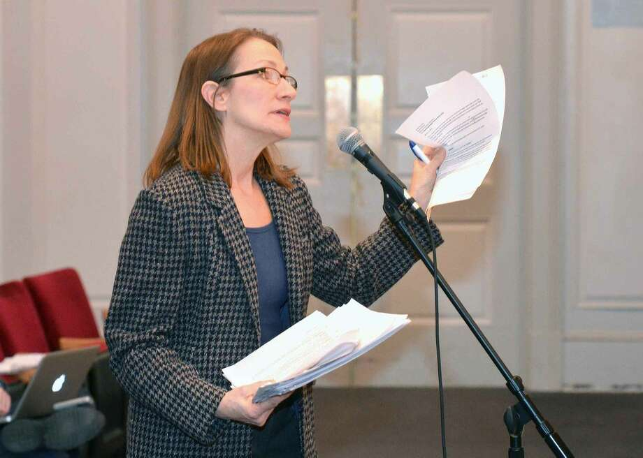Hour Photo/Alex von Kleydorff Diane Lauricella speaks during the Board of Estimate and Taxation holds a public hearing on the tentative operating budget for 2015-16