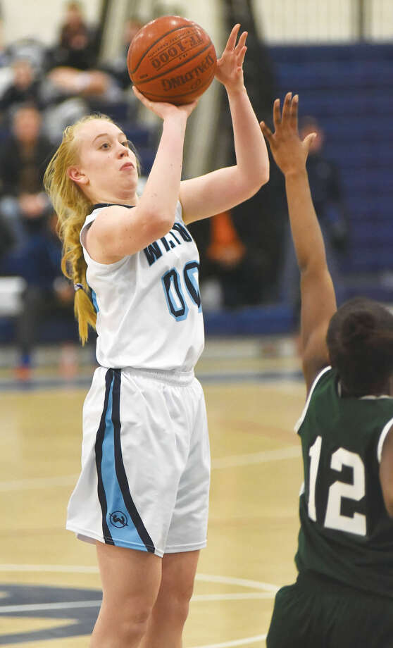 Wilton's 6-foot-3 Providence-bound center Erica Meyer has raised her game to a new level during this postseason. (Hour photo/John Nash)