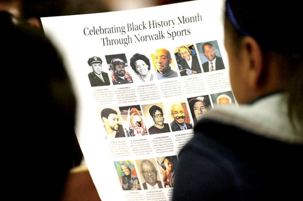 """Hour photo / Erik Trautmann George Albano, The Hour's Associate Sports Editor, speaks to 6th graders at West Rocks Middle School Friday about his """"Celebrating Black History Month Through Norwalk Sports"""" series, which was published in The Hour during the month of February."""