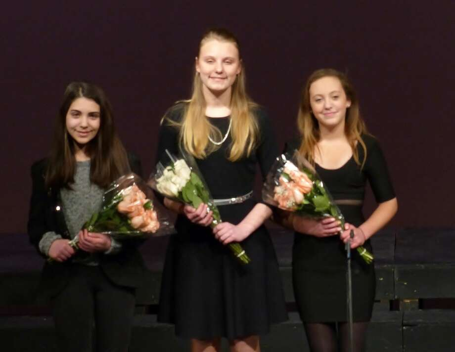 From left to right:  Natalie Sciallo of Stratford (runner-up); Nicole Ostaszewski of Norwalk (2015 winner) and Danielle Keen of Wilton (runner-up) at the annual Matthew Chiappetta Memorial Concert on Monday, March 9, 2015