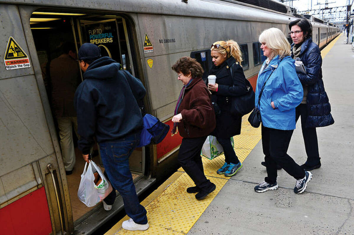 Hour photo / Erik Trautmann Metro North New Haven Line passengers headed for New York City from South Norwalk will have to disembark at the 125th St station and find alternative transport after an explosion and subsequent building collapse closed line service to Grand Central.