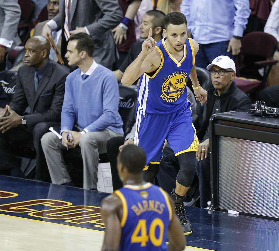 Golden State Warriors' Stephen Curry reacts after hitting a three-pointer in the third quarter during Game 4 of the NBA Finals at The Quicken Loans Arena on Friday, June 10, 2016 in Cleveland, Ohio. Photo: Michael Macor, The Chronicle