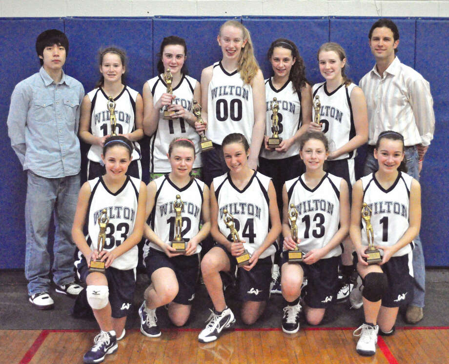 The Wilton girls basketball team after they won the championship in eighth grade. (Contributed phtot)