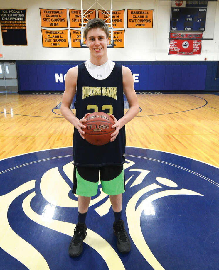 Colin Burke of Norwalk has been a key player for the Notre Dame Catholic School in Fairfield, which will plays for the Class M championship at 3 p.m. (Hour Photo/Alex von Kleydorff)