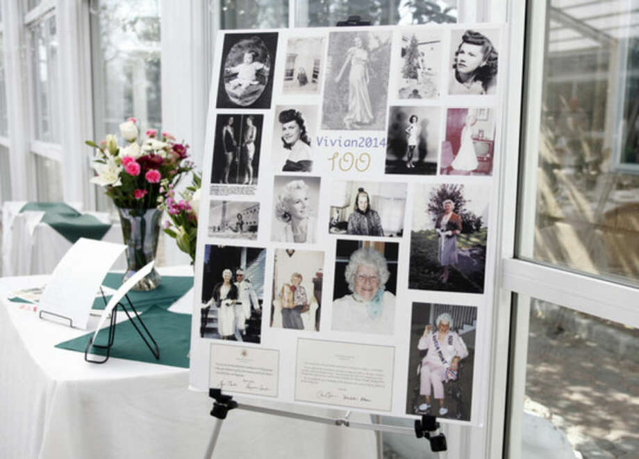 A photo collage of Vivian Salvatore, Former Miss Roton Point (1931), on display at her 100th birthday celebration at the Norwalk Inn Sunday afternoon.Hour Photo / Danielle Calloway
