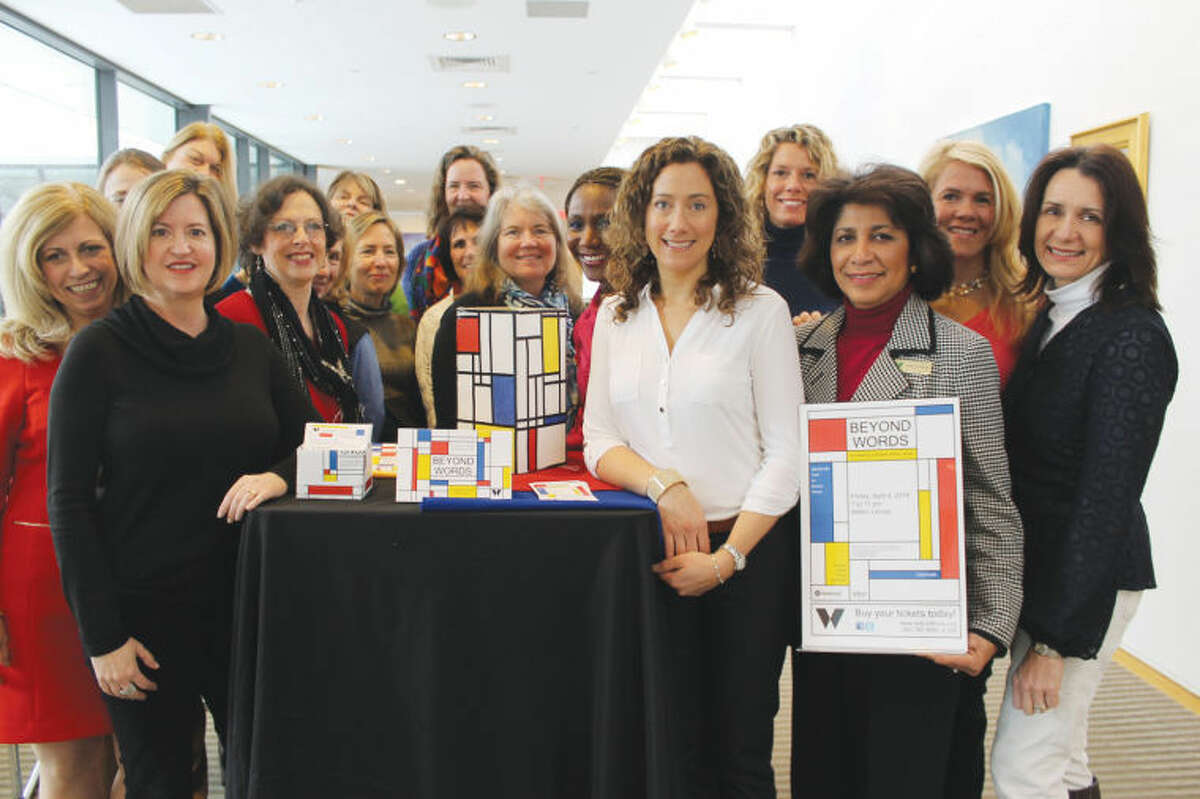 Wilton Library's Beyond Word benefit takes place Friday, April 4, beginning at 7 p.m. Festivities include cuisine by Bianco Rosso, live and silent auctions and live music. The planning committee for Wilton Library's Beyond Word benefit (pictured above) unveils the Mondrian theme of the event.