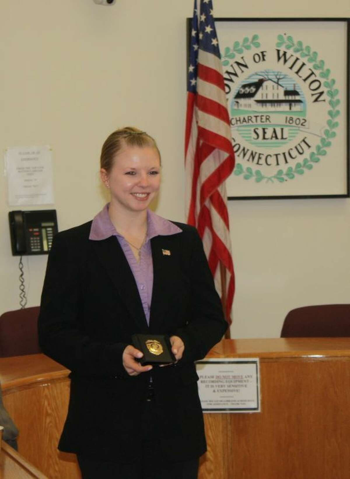 Officer Elise Holland is sworn in as the newest member of the Wilton Police Department.