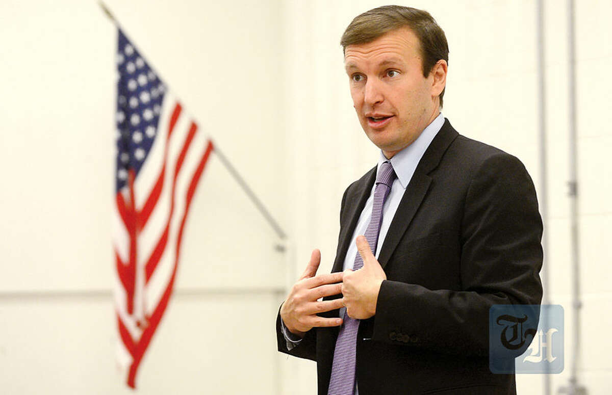 U.S. Sen. Chris Murphy talks to the Norwalk High School Future Business Leaders of America Club to highlight the importance of innovation and entrepreneurship and share career advice Thursday at the school.
