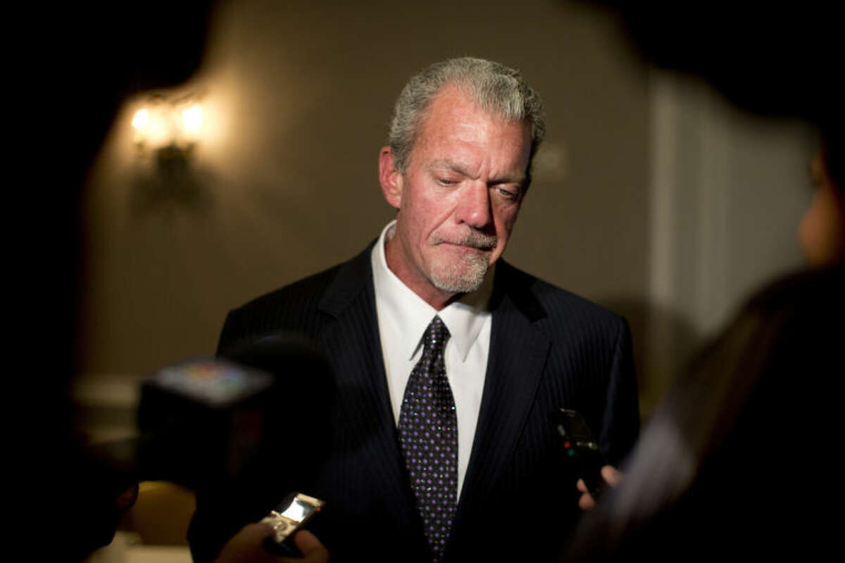 FILE - In this Oct. 8, 2013 file photo, Indianapolis Colts owner Jim Irsay pauses as he speaks to reporters following the NFL owners' fall meetings in Washington. Authorities say Irsay is in jail after being stopped on suspicion of drunken driving. Hamilton County Sheriff's Department Deputy Bryant Orem says Irsay was arrested Sunday night, March 16, 2014, in the northern Indianapolis suburb of Carmel. (AP Photo/Carolyn Kaster, File)