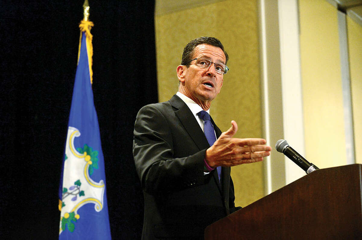 Hour photo / Erik Trautmann In this file photo, CT Governor Dannel Malloy addresses the Stamford Chamber of Commerce during their luchneon at the Stamford Marriot Thursday.