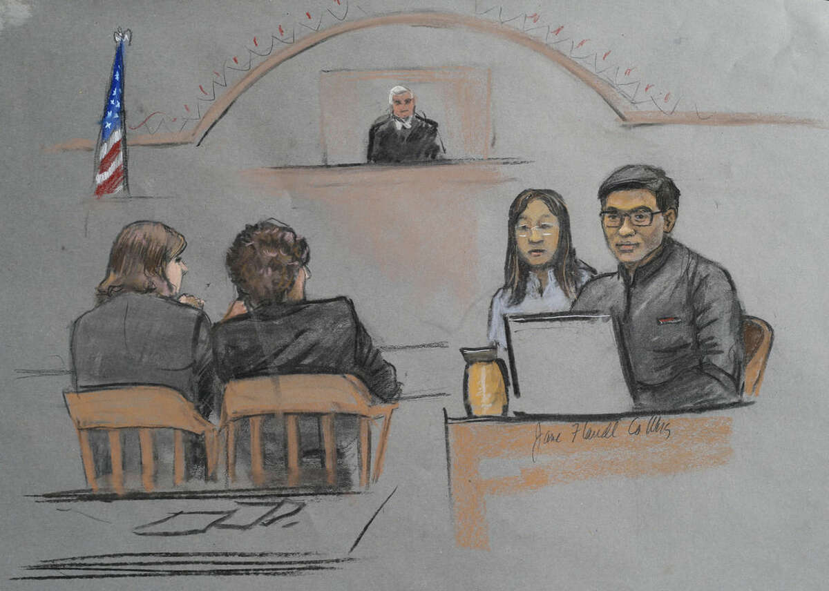 """In this courtroom sketch, Dun Meng, far right, testifies with a translator at his side during the federal death penalty trial of Boston Marathon bombing suspect Dzhokhar Tsarnaev in Boston, Thursday, March 12, 2015. Meng described his harrowing ride at gunpoint with the Boston Marathon bombers and the moment he made """"the most difficult decision"""" of his life to bolt from the car. Tsarnaev is charged with conspiring with his brother to place two bombs near the marathon finish line in April 2013, killing three and injuring more than 260 people. (AP Photo/Jane Flavell Collins)"""