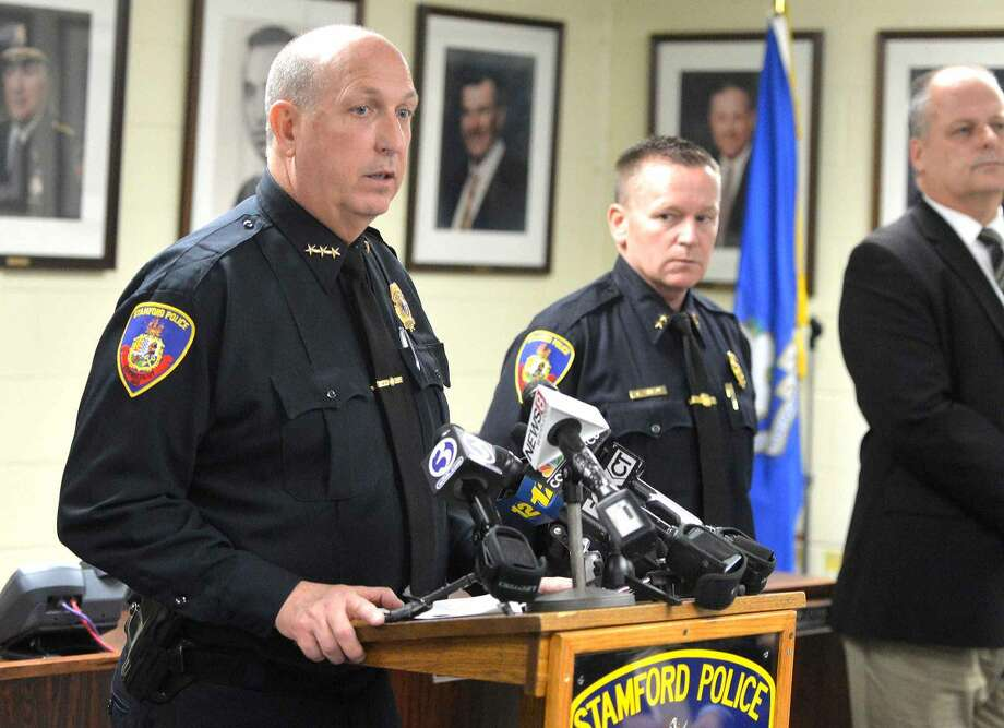 Hour Photo/Alex von Kleydorff Stamford Police Chief Jon Fontneau talks about arrests that have been made over the weekend during a press conference in connection to the murder of Antinio Muralles