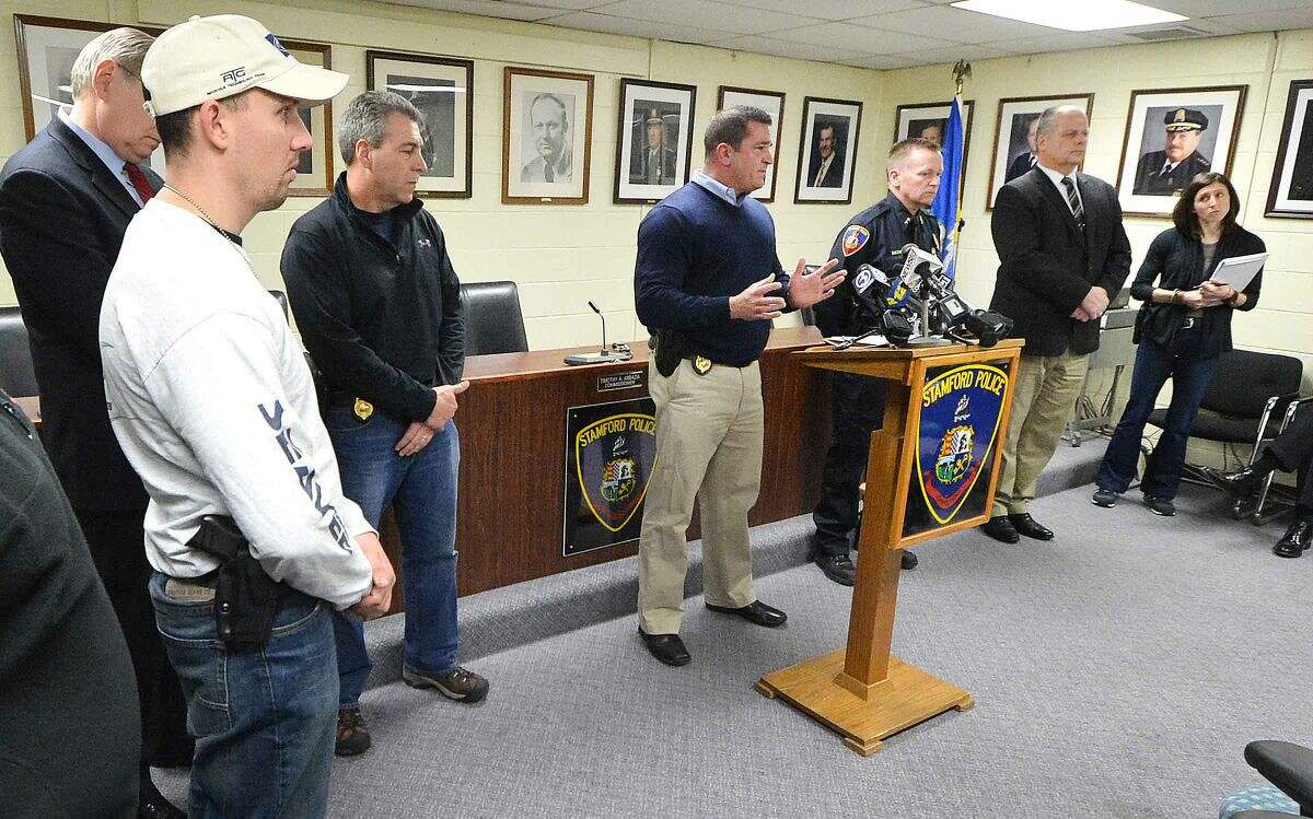 Hour Photo/Alex von Kleydorff Stamford Police hold a press conference to announce arrests made over the weekend in the stabbing death of Antonio Muralles