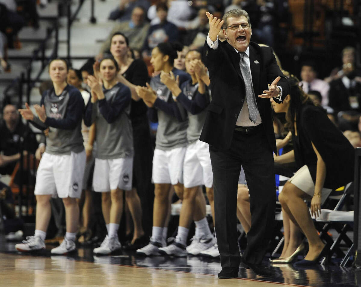FILE - In this March, 2015, file photo, Connecticut coach Geno Auriemma reacts during the first half of an NCAA college basketball game against East Carolina in the semifinals of the American Athletic Conference tournament in Uncasville, Conn. The NCAA college basketball tournament pairings will be announced Monday. (AP Photo/Jessica Hill, File)