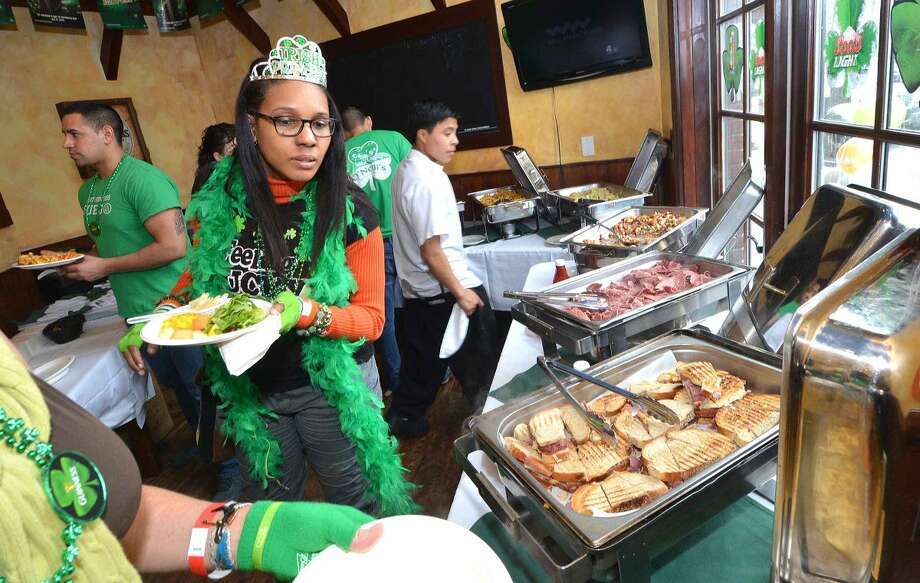 Hour Photo/Alex von Kleydorff Plenty of choices of traditional Irish food during St. Patricks day at O'Neill's Pub in Sono