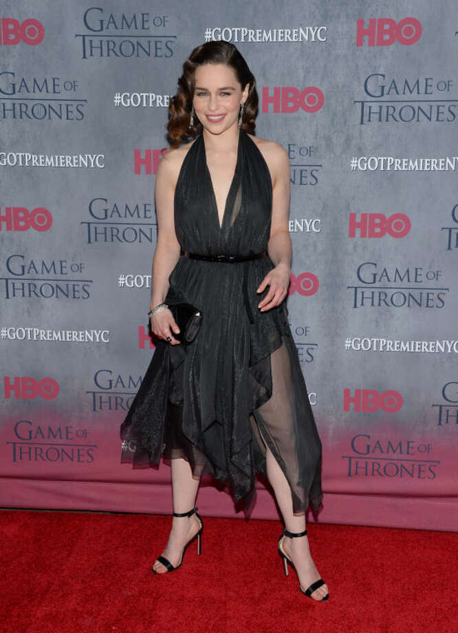 "Actress Emilia Clarke attends HBO's ""Game of Thrones"" fourth season premiere at Avery Fisher Hall on Tuesday, March 18, 2014 in New York. (Photo by Evan Agostini/Invision/AP)"