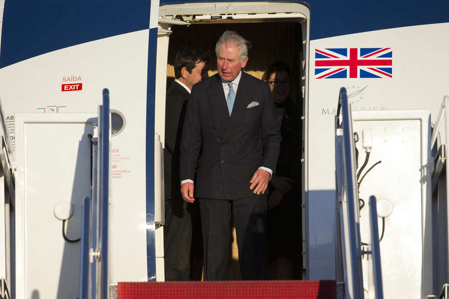 Britain's Prince Charles arrives at Andrews Air Force Base, on Tuesday, March 17, 2015, in Andrews Air Force Base, Md. (AP Photo/ Evan Vucci)