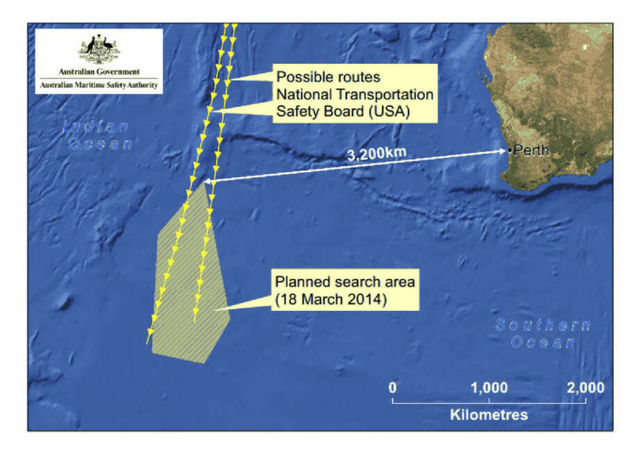 This graphic released by the Australian Maritime Safety Authority Tuesday, March 18, 2014 shows an area, left bottom, in the southern Indian Ocean that the Australian Maritime Safety Authority (AMSA) is concentrating its search for the missing Malaysia Airlines Flight MH370 on. Manager of AMSA response division John Young has identified their search will cover a massive 600,000-square kilometers (232,000-square miles) area, saying it will take weeks to search thoroughly. (AP Photo/The Australian Maritime Safety Authority)