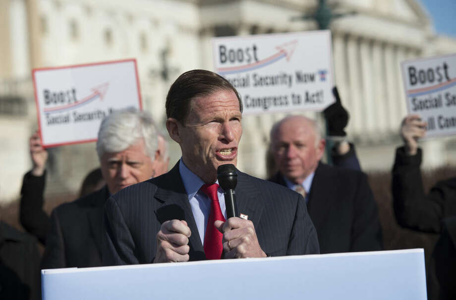 """FILE - In this March 18, 2015 file photo, Sen. Richard Blumenthal, D-Conn. speaks during a news conference on Capitol Hill in Washington. Blumenthal is not wasting any time preparing for his re-election campaign in 2016. The Democrat recently sent emails to supporters, warning them how the party learned """"there's no such thing as a safe seat"""" in the 2014 election. (AP Photo/Molly Riley)"""