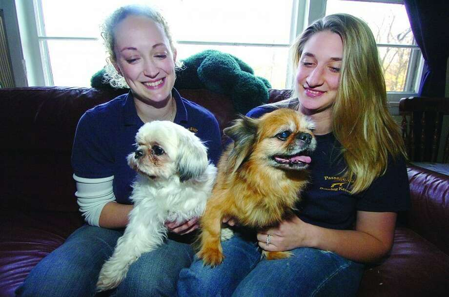 Fawn Holden and Amanda Lucas hold on to Sandy, a shih tzu that was adopted and Chelsea, a pekinese that is ready for adoption, at Passage East Kennels in Wilton.
