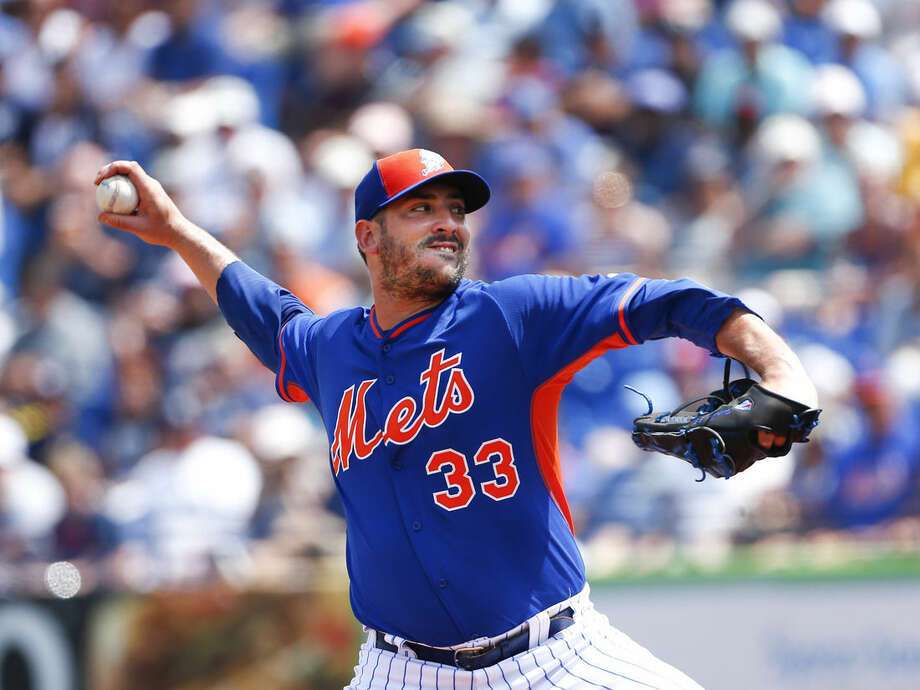 New York Mets starting pitcher Matt Harvey (33) works in the first inning of an exhibition spring training baseball game against the New York Yankees, Sunday, March 22, 2015, in Port St. Lucie, Fla. (AP Photo/John Bazemore)