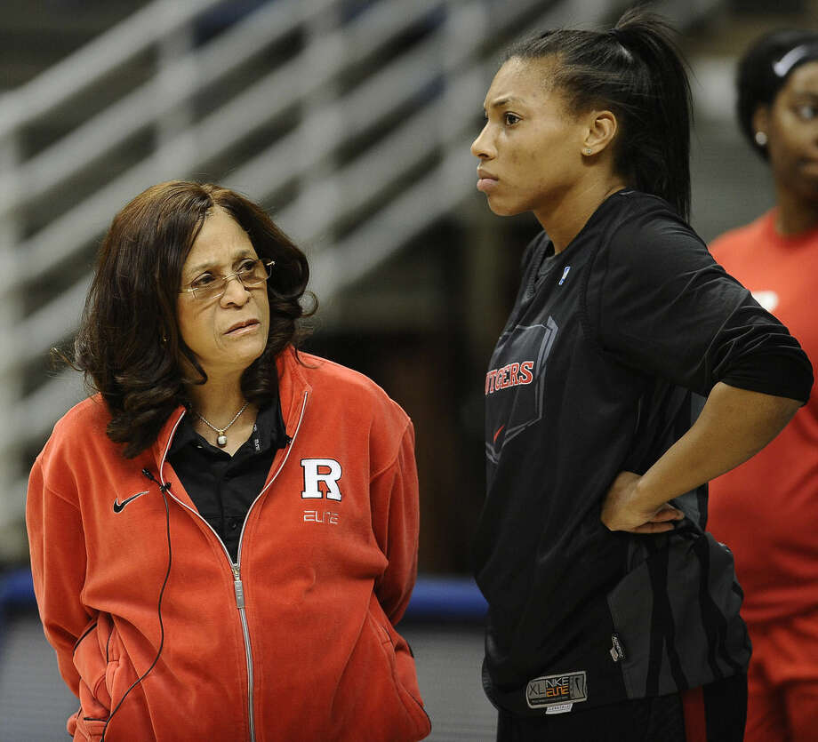 Rutgers head coach C. Vivian Stringer, left, stands with Betnijah Laney during practice for a women's college basketball NCAA tournament first round game, Friday, March 20, 2015, in Storrs, Conn. Rutgers plays Seton Hall on Saturday. (AP Photo/Jessica Hill)