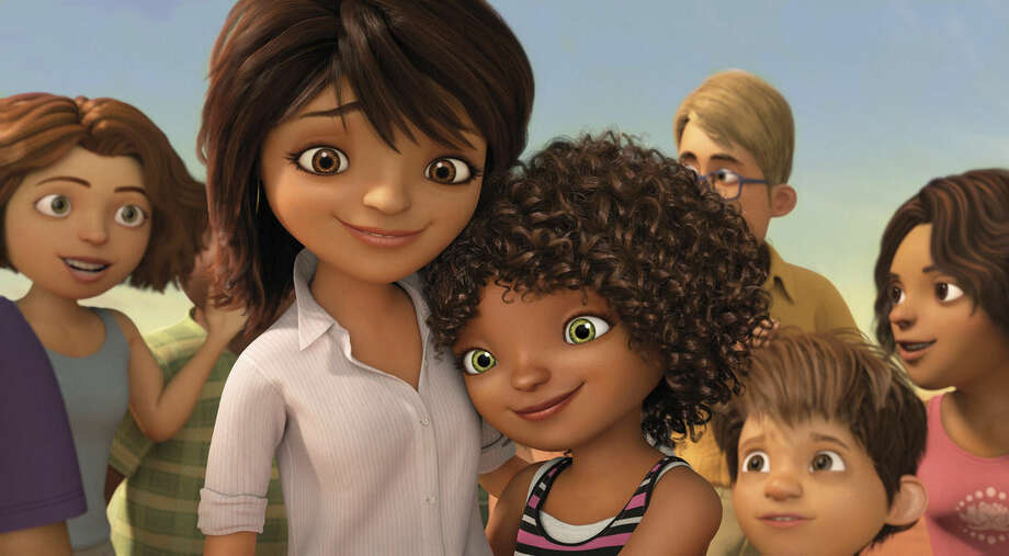 """In this image released by DreamWorks Animation, characters Lucy, voiced by Jennifer Lopez, left, and Tip, voiced by Rihanna appear in a scene from the animated film """"Home."""" (AP Photo/DreamWorks Animation)"""