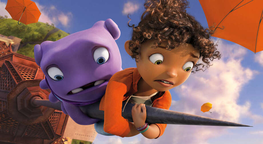 """In this image released by DreamWorks Animation, characters Oh, voiced by Jim Parsons, left, and Tip, voiced by Rihanna appear in a scene from the animated film """"Home."""" (AP Photo/DreamWorks Animation)"""