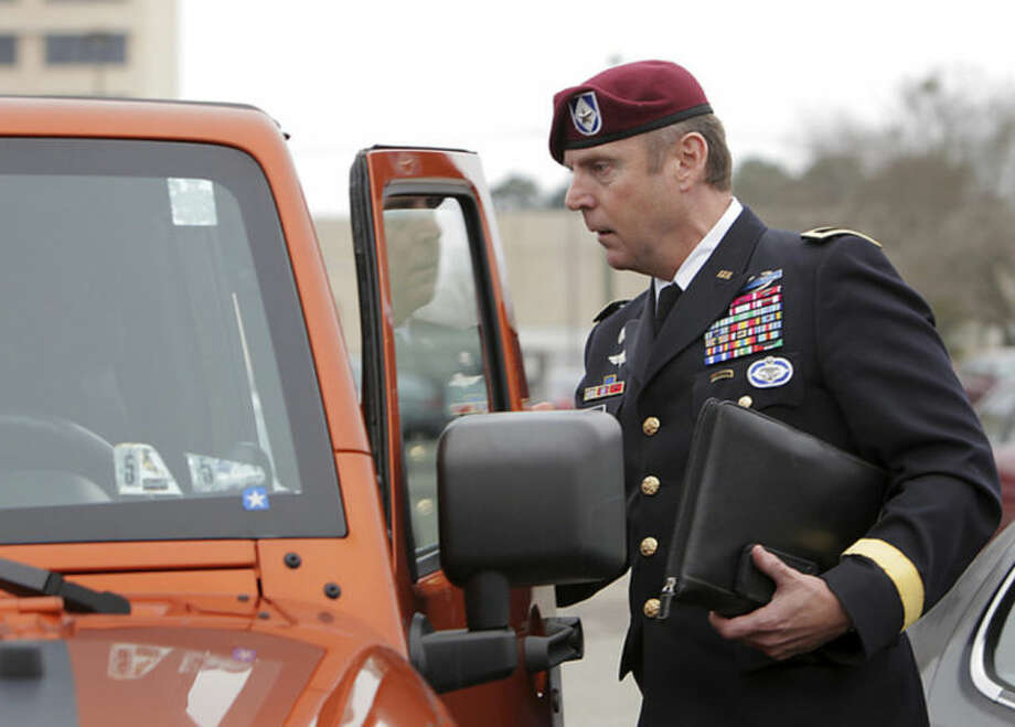 Brig. Gen. Jeffrey Sinclair, who faces charges related to having inappropriate relationships with subordinates, leaves court at Fort Bragg in Fayetteville, N.C., Wednesday, March 19, 2014. Closing arguments were presented, but no sentence was reached. (AP Photo/Ted Richardson)