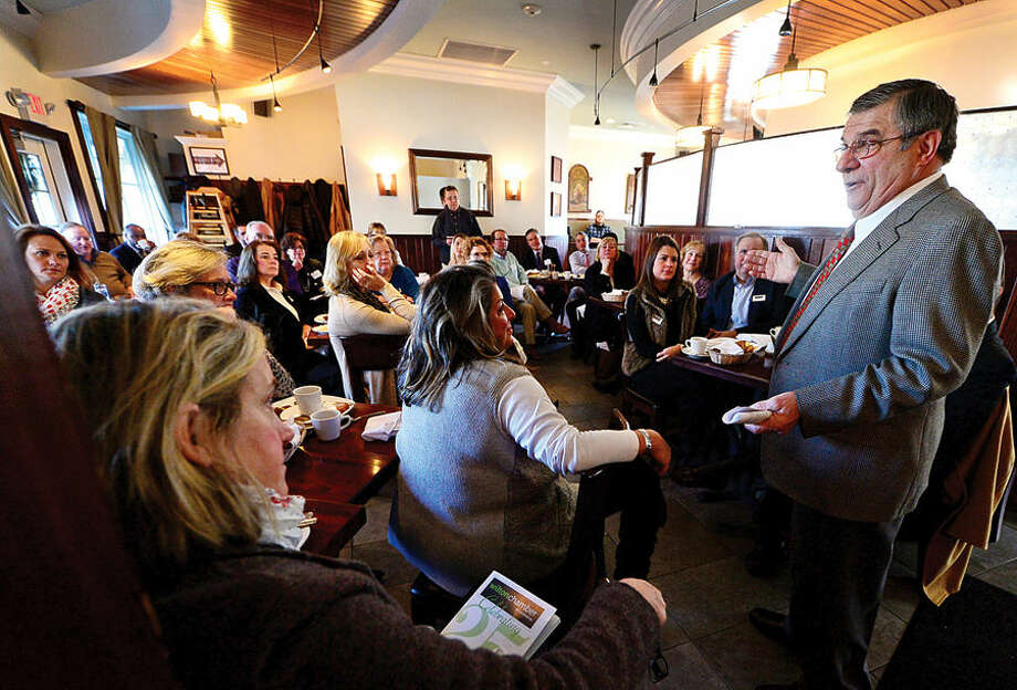 """Nicholas Perna, chief economist of Webster Bank, gives his keynote address at the annual """"Eggs & the Economy"""" Economic Forecast Breakfast sponsored by the Wilton Chamber of Commerce at Marley's Bar & Bistro."""